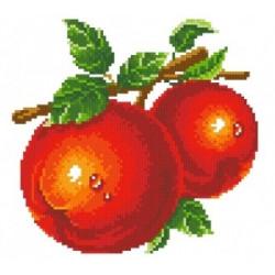 Красные яблоки, набор для изготовления картины стразами 25х23см 16цв. полная выкладка АЖ
