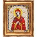 Семистрельная Пресвятая Богородица, ткань с рисунком для вышивки бисером 13,5х16,5см. Благовест