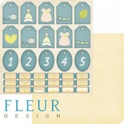 Теги и билетики, коллекция Я расту, бумага для скрапбукинга 30x30см, 190г/м Fleur Design