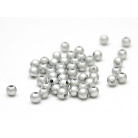 Серебро, бусины пластик 6мм 50шт, Zlatka