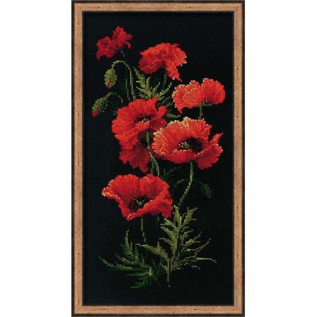 Маки, набор для вышивания крестиком, 25х50см, нитки шерсть Safil 16цветов Риолис