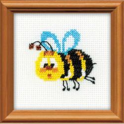 Пчёлка, набор для вышивания, 10х10см, бисер+мулине 8цветов Риолис