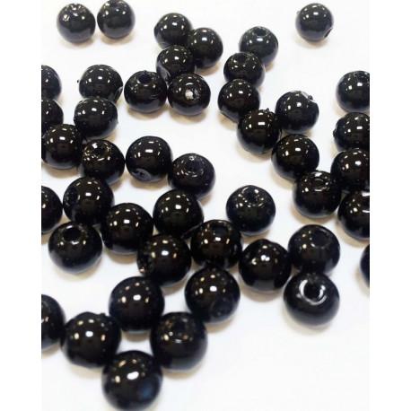 Черный, бусины пластик 8мм 50шт, Zlatka