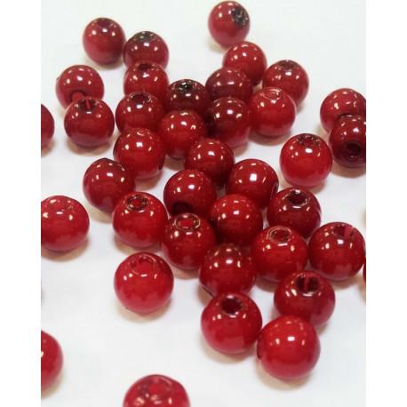 Т.красный, бусины пластик 8мм 50шт, Zlatka