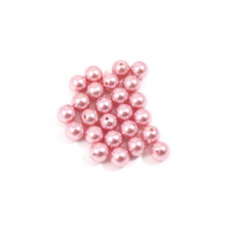 Розовый, бусины пластик 12мм 25шт, Zlatka