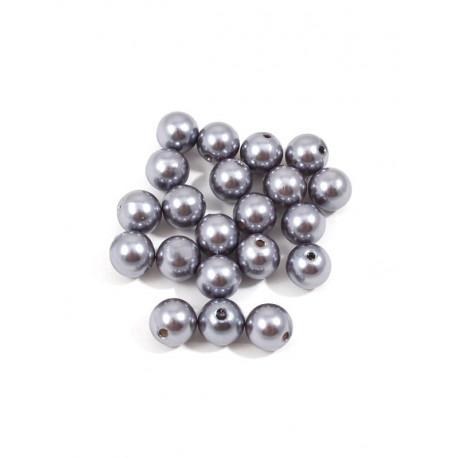 Серый, бусины пластик 12мм 25шт, Zlatka