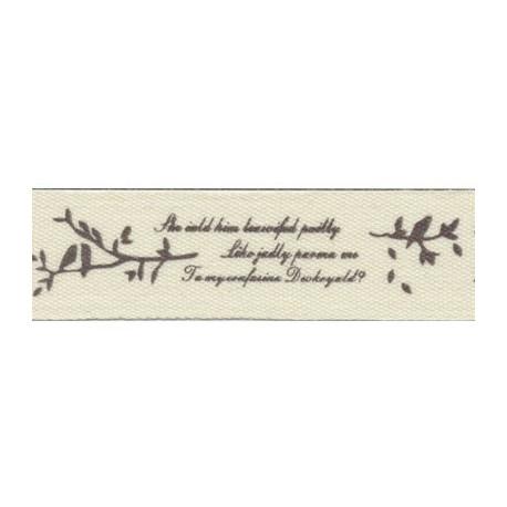 Стихи, коричневый, коричневый, тесьма декоративная 16 мм с рисунком CLP-161 3м, GAMMA