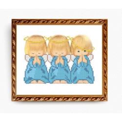Три ангелка, ткань с рисунком для вышивки бисером 15х19см, Art Solo